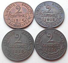 lot de 4 monnaies 2 Centimes DUPUIS 1914-1916-1919-1920 - F.110