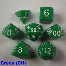 Juego de RPG Opaco Poly 7 dados Verde (Ch) audaz fácil leer Pathfinder 5e D&D intrépidos