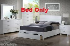 Modern 1 Piece White Color BedFrame Queen Size Bed W Storage Bedroom Furniture