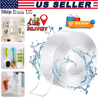 Heavy Duty Double Sided Gel Tape Sticky Adhesive Transparent Industrial (2 Size)