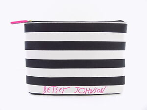 BETSEY JOHNSON  Black WHITE TABLET SLEEVE CASE Clutch Handbag
