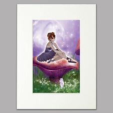 Toadstool Ballerina Print women/girls gift purple Mounted Wall Art A4 12 x 16