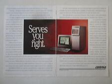 4/1991 PUB COMPAQ COMPUTER PC ORDINATEUR DESKPRO 486 386 SYSTEMPRO ORIGINAL AD