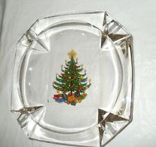 "VINTAGE Crystal Multi Color Christmas Tree Ash Tray X Large 8"" x 8"" x 2"" FREE SH"