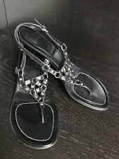 Coach Sandals Black Metal Studded Kitty Heels Shoes Ankle Strap Pumps 9 1/2 B