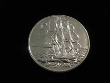 """1988  New Zealand 50 Cent Coin  """"H.M.S. Endeavour""""  nice coin  world coins"""