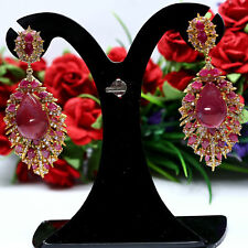 NATURAL 12 x 17 mm. PEAR CABOCHON RED RUBY & SAPPHIRE EARRINGS 925 SILVER