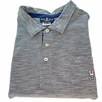 PSYCHO BUNNY Mens 5X Tall Gray Weave Short Sleeve Three  Button Polo Shirt