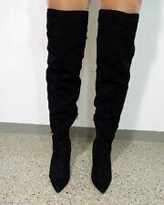 Overknee Stiefel Größe 39 schwarz Leder Optik High Heels D927