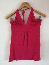 Therapy Viscose Stretch Vest Top Tie Halter Size 10 Fuchsia Pink  <R11253