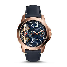 FOSSIL ME1162 Grant Twist Rose Gold Navy Blue Leather 44mm Men's Watch