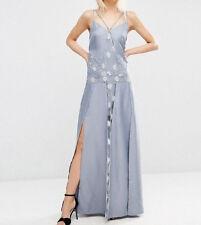 Lace Cami Lingerie Maxi Dress (E64) RRP £58 UK8 - Light Blue/Grey