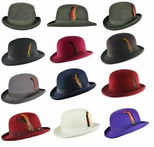 Quality Hard Top 100% Wool Bowler Hat with Removable Feather Satin Lined 4 Sizes