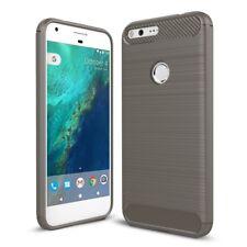 Google Pixel XL TPU Case Carbon Fiber Optik Brushed Motiv Schutz Hülle Grau Neu