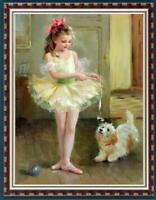 "Hand painted Original Oil Painting art small girl dog on canvas 24""X36"""