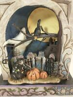 Jim Shore Halloween Haunted Eve Lighted Graveyard Black Cat Tombstone Ghost