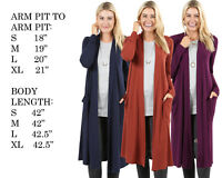 Women Maxi Soft Cardigan Long Sleeve Solid Open Front Sweater S, M, L, XL