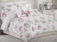 CYNTHIA ROWLEY Kids 4pc Paris Eiffel Tower Watercolor Comforter Set-Twin/Twin XL