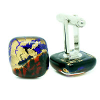 Murano Glass Cufflinks Red Blue Gold Square Handmade Cuff Links from Venice