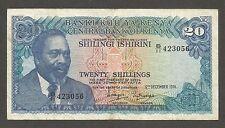 Kenya 20 Shillings 1974, VF; P-13, L-B113a, Mountain; Lions