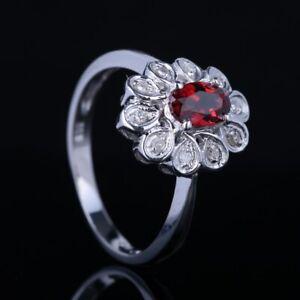 Solid 10K White Gold Oval Cut Garnet Diamonds Gemstones Jewelry Wedding Ring