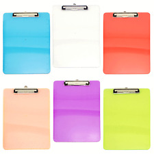 Plastic Clipboard Set Standard Size Colorful Office Document Holders LOT
