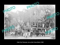 OLD LARGE HISTORIC PHOTO OF FALLS CITY NEBRASKA, VIEW OF THE UNION HOTEL c1900