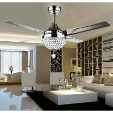 "Us 44""Crystal Modern Ceiling Fan Chandelier Stainless Steel Remote Control"