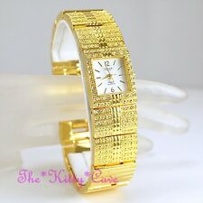 Omax Ladies Gold Plt Waterproof Statement Cuff Watch w Swarovski Crystals JES002