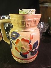 "Old English 7-1/4"" Pitcher/ Jug Blue & Red Floral Decoration Unmarked"