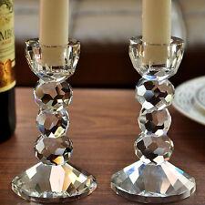 Pair 2 Crystal Cut Pillar Candle Holders Wedding Centerpieces Home Decor