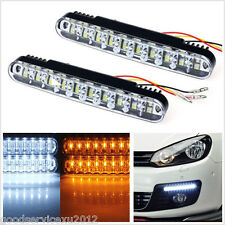 2 Pcs 12V 30LED Autos Front White DRL Fog Lamps Amber Turn Signal Lights Strips