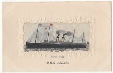 R.M.S. Cedric Silk Post Card Titanic White Star Line Interest