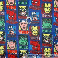 BonEful Fabric Cotton Flannel Quilt BOY Super Hero Spiderman HULK VTG USA SCRAP