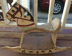 Small Antique Children's Rocking Horse Toy 1940's? 50'? Primitive Rare  Cowboys