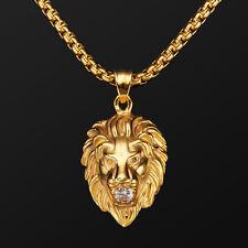 Herren Gelbgold Halskette mit Lion Anhänger Edelstahl 18K Gold vergoldet 60cm