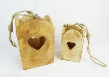 S/2 Cassette Legno C/cuore Da Appendere H.21/16 Cm Decorazione Arredo