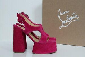 New sz 6 / 36 Christian Louboutin Foolish 130 Pink Suede Platform  Sandal Shoes