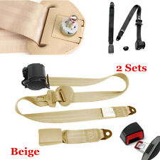 2 Sets Adjustable Seat Safety Belt Harness Car Truck Lap Belt Universal 3 Point