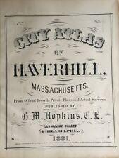 Original 1881 G.M. Hopkins, Haverhill, Massachusetts, Title Page, Plat Atlas Map