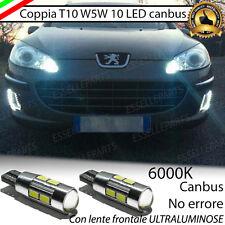 COPPIA LUCI POSIZIONE A 10 LED PEUGEOT 407 T10 W5W CANBUS NO ERROR