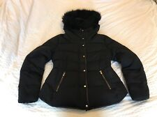 Womens ZARA Navy Feather Down Puffer Coat. Detachable Fur Trim Size L (UK 12/14)