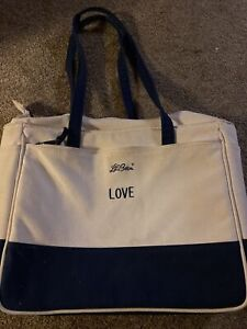 Vintage LL Bean Boat & Tote Bag - White with Navy Blue Trim
