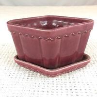 Dark Pink Diamond Shaped Glazed Ceramic Vintage Planter Scalloped Trim Shawnee?