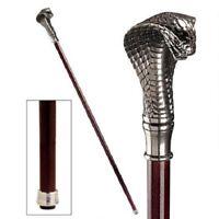 Handcrafted Hardwood Solid Pewter Handle Cobra Cane Snake Walking Stick