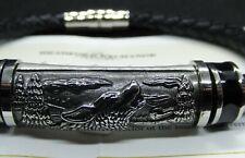 "Leather & Stainless Steel ""Spirit of the Wilderness"" Wolf Bracelet COA 100%"