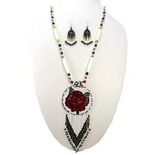 White Red Necklace Earring Set S51/3 Handmade Beaded Nat