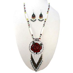 HANDMADE BEADED NATIVE STYLE ETHNIC CHUNKY WHITE RED NECKLACE EARRING SET S51/3