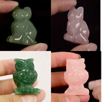 Cute Cat Owl Small Animal Shape Stone Carved Figure Statue Table Décor Gemstone