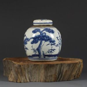 Chinese Blue and White Porcelain Hand Painted Pine Earthen Jar Pot 4.1 inch